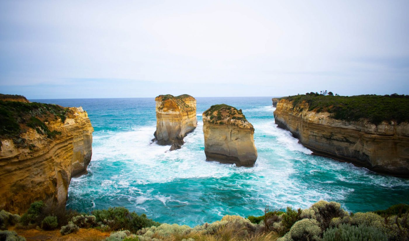 Twelve apostles rocks with ocean waves crashing corrosion